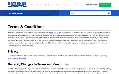 Screenshot of Terms Page nlt.com - Terms & Conditions | National Lift Truck, Inc. - captured Oct. 18, 2018