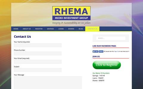Screenshot of Contact Page rhema.co.ke - Contact Us – Rhema Micro Investment Group - captured Jan. 25, 2017