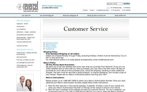 Screenshot of Support Page revercel.com - Customer Service : Anti Aging Skin Care : Skin Lightening Creams : Revercel.com - captured Jan. 29, 2018