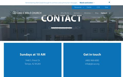 Screenshot of Contact Page gbcaz.org - Contact - Grace Bible Church - captured Sept. 6, 2017