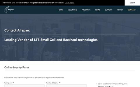 Screenshot of Contact Page airspan.com - Contact | Airspan - a leading LTE Small Cell and Compact RAN solution provider - captured July 12, 2018