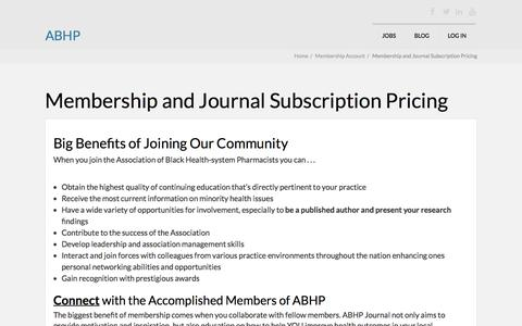 Screenshot of Signup Page myabhp.org - Membership and Journal Subscription Pricing - ABHP - captured Nov. 19, 2016