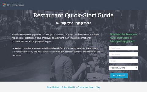 Screenshot of Landing Page hotschedules.com - Ebook - Restaurant Employee Engagement - captured March 8, 2018