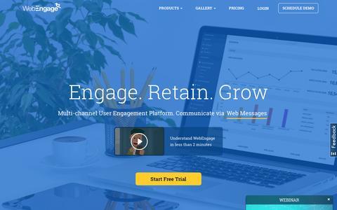Screenshot of Home Page webengage.com - Multi-channel User Engagement & Marketing Automation Platform - WebEngage - captured April 20, 2016