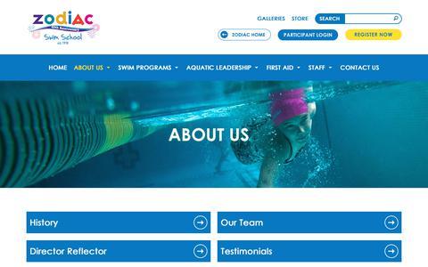 Screenshot of About Page zodiackids.ca - About Us   Zodiac Swim School Toronto, Canada - captured Oct. 21, 2018