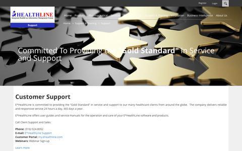 Screenshot of Support Page ehealthline.com - Support - captured July 6, 2017