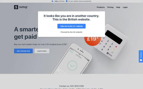 Screenshot of Home Page sumup.co.uk - Credit Card Machines - Mobile Chip and PIN Payment Solution | SumUp - captured Oct. 19, 2018
