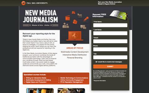 Screenshot of Landing Page fullsail.edu - Full Sail University - captured Oct. 27, 2014