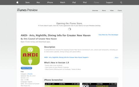 Screenshot of iOS App Page apple.com - ANDI- Arts, Nightlife, Dining Info for Greater New Haven on the App Store on iTunes - captured Oct. 30, 2014
