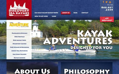Screenshot of About Page discoveryseakayak.com - About us - Discovery Kayak - captured Jan. 7, 2016