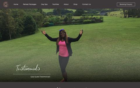 Screenshot of Testimonials Page gaiaretreat.com.au - Guest Testimonials & Experience   Gaia Retreat & Spa - captured Aug. 2, 2019