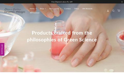 Screenshot of Home Page aromamagic.com - Aroma Magic | Buy Natural Beauty Products Online – Blossom Kochhar Aroma Magic - captured March 22, 2019
