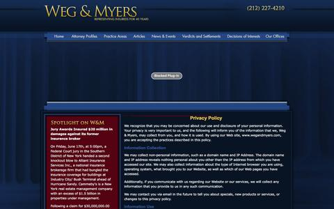 Screenshot of Privacy Page wegandmyers.com - Privacy Policy | New York Insurance Lawyer | Insurance Law Attorney - captured Dec. 3, 2016