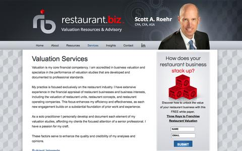 Screenshot of Services Page restaurant.biz - Valuation Services - captured Oct. 9, 2014