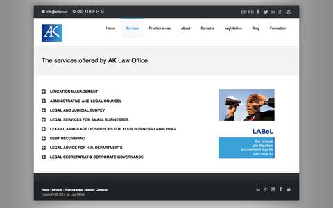 Screenshot of Services Page aklaw.sn - The services offered by AK Law OfficeLes services offerts par AK Law Office ‹ AK Law OfficeAK Law Office - captured Oct. 4, 2014