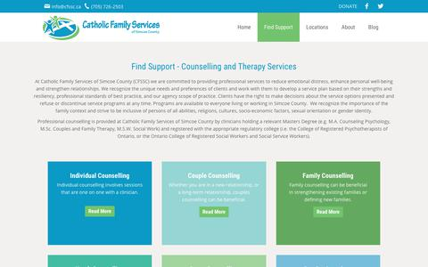 Screenshot of Services Page cfssc.ca - Counselling Services in Simcoe County - Catholic Family Services  | Catholic Family Services of Simcoe County - captured July 17, 2017