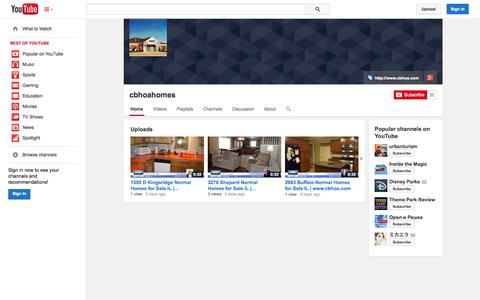 Screenshot of YouTube Page youtube.com - cbhoahomes  - YouTube - captured Oct. 22, 2014