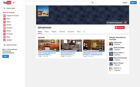 Screenshot of YouTube Page youtube.com - cbhoahomes  - YouTube - captured Oct. 22, 2014