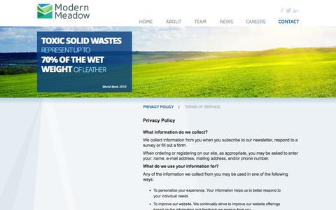 Screenshot of Privacy Page modernmeadow.com - Modern Meadow - captured Sept. 19, 2014