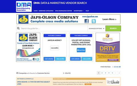 Screenshot of Support Page dataandmarketingsearch.com - Customer Service - Data & Marketing Vendor Search - captured June 26, 2017