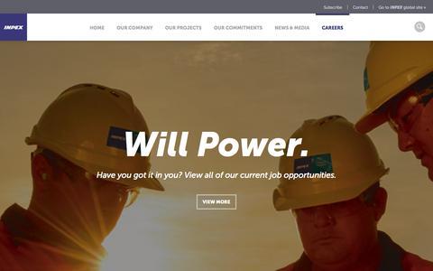Screenshot of Jobs Page inpex.com.au - Careers   INPEX - captured Nov. 3, 2014