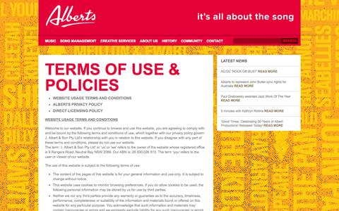 Screenshot of Terms Page albertmusic.com - Terms of Use & Policies | Alberts - captured Oct. 4, 2014