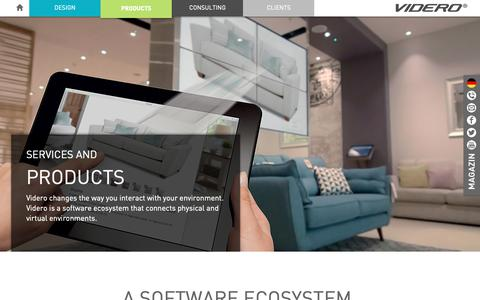 Screenshot of Products Page videro.com - Digital signage software ecosystem - captured Oct. 19, 2018