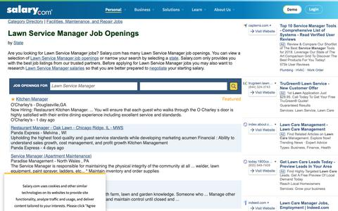 Screenshot of Jobs Page salary.com - Lawn Service Manager Job Openings | Salary.com - captured Oct. 26, 2018
