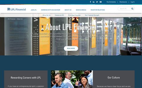 Screenshot of About Page lpl.com - About Us - captured June 13, 2016