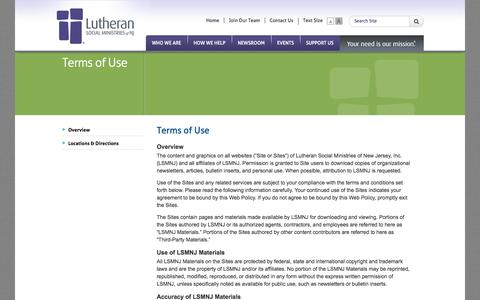 Screenshot of Terms Page lsmnj.org - LSMNJ: Terms of Use - captured Oct. 3, 2014