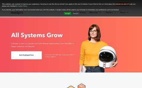 Screenshot of Home Page hubspot.com - HubSpot | Inbound Marketing & Sales Software - captured July 16, 2018
