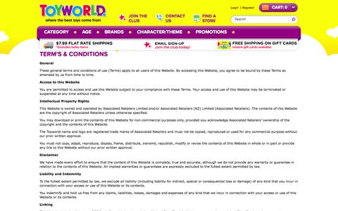 Screenshot of Terms Page toyworld.co.nz - Term & Conditions | Toyworld - captured Sept. 19, 2014