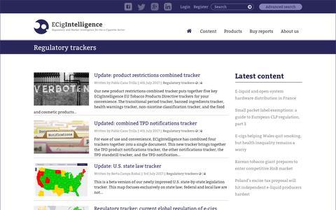 Screenshot of Maps & Directions Page ecigintelligence.com - ECigIntelligence –   Content types  Regulatory trackers - captured July 8, 2017