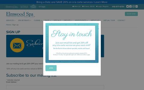 Screenshot of Signup Page elmwoodspa.com - Sign up - Elmwood Spa - captured July 18, 2018