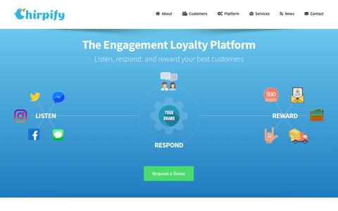 Screenshot of Home Page chirpify.com - Chirpify – The Engagement Loyalty Platform - captured Feb. 11, 2019