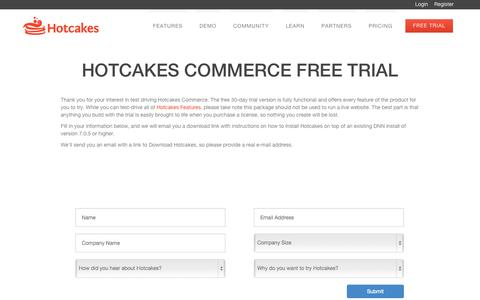 Screenshot of Trial Page hotcakescommerce.com - Free Trial - Hotcakes Commerce - captured Sept. 30, 2014