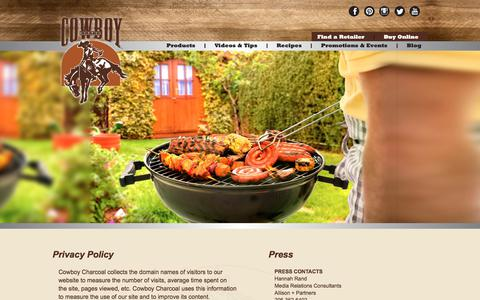 Screenshot of Privacy Page Press Page Site Map Page cowboycharcoal.com - Privacy Policy - Cowboy Charcoal - captured July 21, 2018