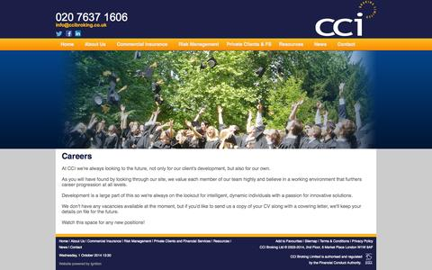 Screenshot of Jobs Page ccibroking.co.uk - CCI Broking Limited - Work for Us, Careers, Jobs - captured Oct. 1, 2014