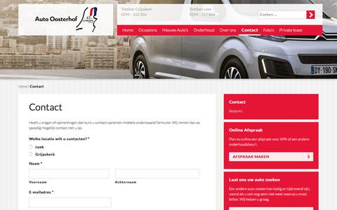 Screenshot of Contact Page auto-oosterhof.nl - Contact - Auto Oosterhof - captured March 3, 2018