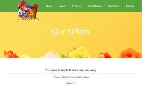Screenshot of Login Page fullpot.com - Our Offers - Full Pot of Flowers - captured Nov. 25, 2016