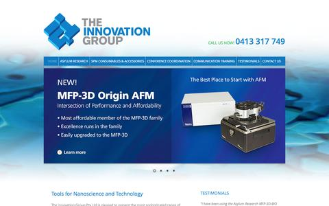 Screenshot of Home Page innovationgroup.com.au - The Innovation Group - Home - captured Oct. 6, 2014