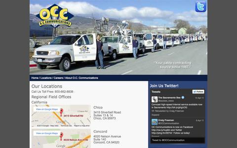 Screenshot of Locations Page occom.com - OC Communication Locations - captured Oct. 6, 2014