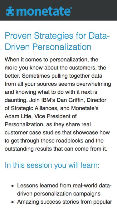 Webinar: Proven Strategies for Data-Driven Personalization with Monetate and IBM