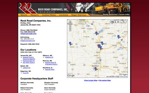 Screenshot of Contact Page Locations Page rockroads.com - The Staff of Rock Road Companies, Inc. - captured Oct. 26, 2014