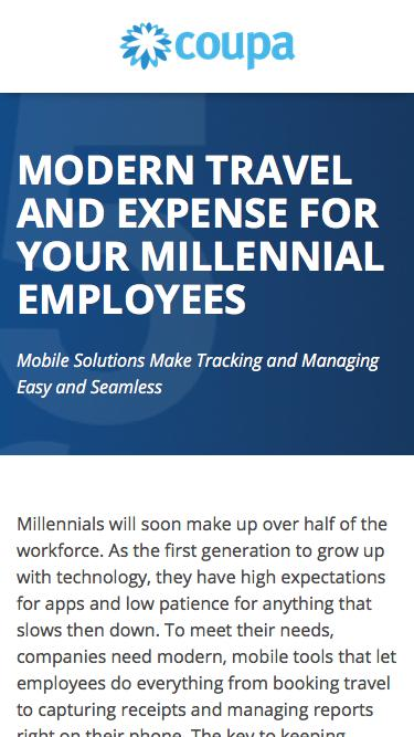 Modern Travel and Expense For Millennial Employees | Travel Expense Management and Reporting | Coupa Software
