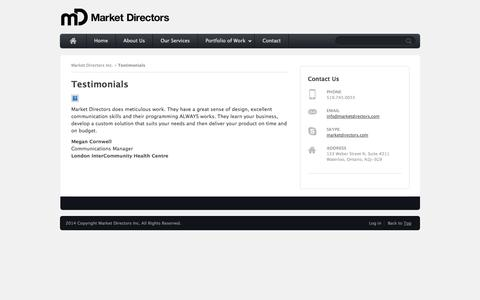 Screenshot of Testimonials Page marketdirectors.com - Testimonials |  Market Directors Inc. - captured Oct. 27, 2014