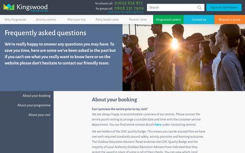 Screenshot of FAQ Page kingswood.co.uk - FAQS - captured Oct. 15, 2018