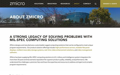 Screenshot of About Page zmicro.com - MIL-SPEC Computing Solutions | Customizable Rugged Computing Solutions - captured Oct. 19, 2018