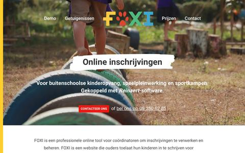 Screenshot of Home Page foxi.be - FOXI. Online Inschrijvingen - captured Aug. 17, 2018