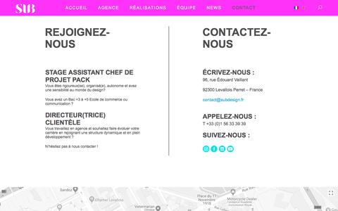 Screenshot of Contact Page subdesign.fr - Contact | SUBDESIGN - captured July 26, 2018